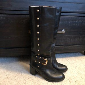 Michael Kors MK Leather Studded Knee High Boots
